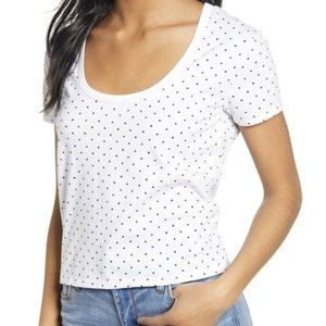 BP | White Polkadot cropped Tee Shirt